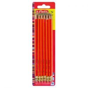 Herlitz 8850604Pack 24Bleistifte Scolaire HB mit Radiergummi, FSC Holz lackiert