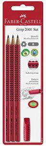 Faber-Castell 580221 – Grip 2001 Set, 3 Bleistifte, inklusive Eraser Cap, rot