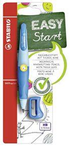 Ergonomischer Druck-Bleistift für Linkshänder – STABILO EASYergo 3.15 in hellblau/dunkelblau – inklusive 1 dicken Mine – Härtegrad HB & Spitzer