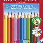 Faber-Castell 116612 Radierbare Buntstifte mit Gummitip, 12er Kartonetui, 1 Stück