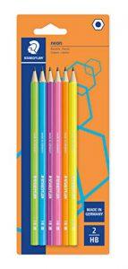 Staedtler 180F BK12 Neonfarbene Bleistifte, HB Premium-Qualität, verschiedene Farben Pack of 6