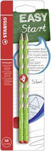 Schmaler Dreikant-Bleistift für Rechtshänder – STABILO EASYgraph S in grün – 2er Pack – Härtegrad HB