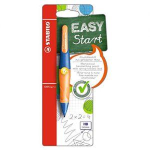 Ergonomischer Druck-Bleistift für Linkshänder – STABILO EASYergo 1.4 in ultramarinblau/neonorange – inklusive 3 dünner Minen – Härtegrad HB