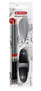 Herlitz Starterset 4tlg. / 2 Bleistifte + Spitzer + Radierer / Farbe: schwarz