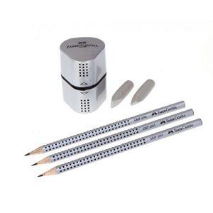 Faber-Castell 117098 – Schreibset GRIP 2001, Inhalt: 3 Bleistifte, 2 Radierer, 1 Spitzer, silber