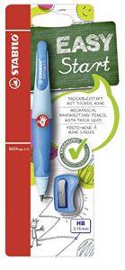 Ergonomischer Druck-Bleistift für Rechtshänder – STABILO EASYergo 3.15 in hellblau/dunkelblau – inklusive 1 dicken Mine – Härtegrad HB & Spitzer