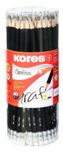 Kores Bleistift Grafitos, HB mit Radierer, 72 Stück, schwarz