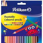 Pelikan 724013 – Buntstifte sechseckige Holzstifte Packung mit 24 Farben