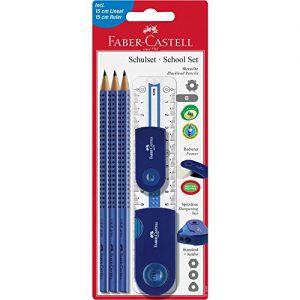 Faber-Castell 217067 – Schulset Sleeve groß, 6-teilig mit Lineal, blau