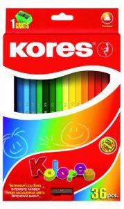 Kores Buntstift Kolores, 3-kant, 3 mm mit Spitzer, 36 farben