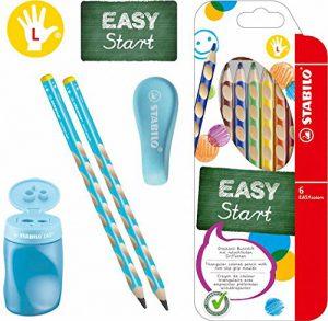 Stabilo EASY-Starter-Set L3 blau mit Bleistiften, Buntstiften, Dosenspitzer und Radierer