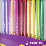 Premium-Filzstift – STABILO Pen 68 – ColorParade in lila – 20er Pack – mit 20 verschiedenen Farben