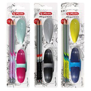 Herlitz 11331337 Starterset my pen, 2 Bleistifte mit Radierer und Anspitzer, farbig sortiert