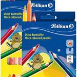 2 Etuis Pelikan Buntstifte 12er dreieckig dick und weich
