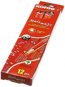 Kores Bleistift Mathmagic, HB, 3-kant, mit Radierer, 12 Stück, schwarz