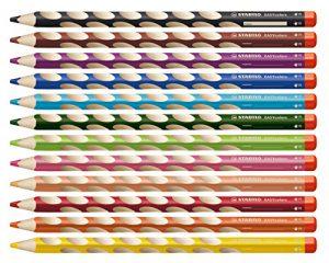 Ergonomischer Buntstift für Rechtshänder – STABILO EASYcolors – 12er Pack mit Spitzer – mit 12 verschiedenen Farben