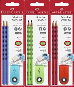 Faber-Castell 182414 – Bleistift-Set Grip 2001, 2 Bleistifte und 1 Radierer, sortiert