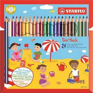 Dreikant-Buntstift – STABILO Trio dick – 24er Pack – mit 24 verschiedenen Farben