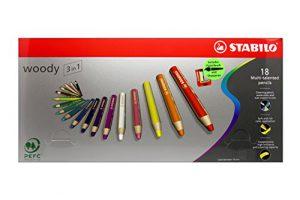 Buntstift, Wasserfarbe & Wachsmalkreide – STABILO woody 3 in 1-18er Pack mit Spitzer und Pinsel – mit 18 verschiedenen Farben