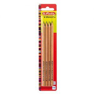 Herlitz Bleistifte Skizzo, HB, naturbelassen, bruchsichere Mine, 4 Stück Auf Blisterkarte