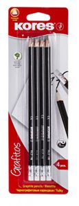 Kores Bleistift Grafitos, HB, dreieckiger Graphit-Bleistift, mit Radiergummi, 4 Stück