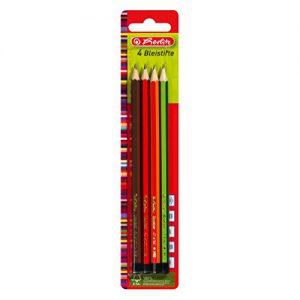 Herlitz Bleistifte Scolair aus FSC Holz, Härtegrad H / HB / B / 2B, 4 Stück, lackiert