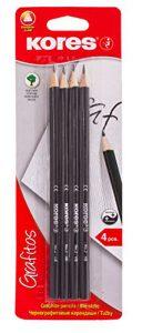 Kores Bleistift Grafitos, HB, dreieckiger Abschluss, Graphit, vergoldet, 4 Stück