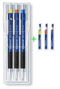 STAEDTLER Mars® micro 0,3mm + 0,5mm + 0,7mm Druckbleistifte 3er Set farbig Sparset mit 36 Feinminen H HB B