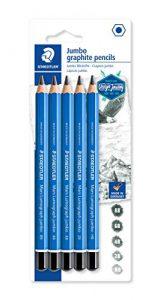 STAEDTLER Jumbo-Bleistifte Mars Lumograph jumbo, Sechskantform, hohe Bruchfestigkeit, 5 Härtegrade, hohe Qualität Made in Germany, Blisterkarte mit 5 Bleistiften, 100J-S BK5