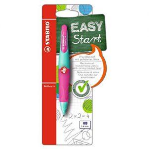 Ergonomischer Druck-Bleistift für Rechtshänder – STABILO EASYergo 1.4 in türkis/neonpink – inklusive 3 dünner Minen – Härtegrad HB