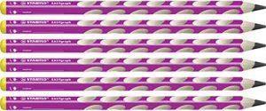 Ergonomischer Dreikant-Bleistift für Linkshänder – STABILO EASYgraph in pink – Härtegrad B – 6er Pack