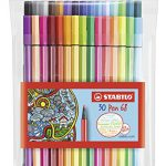 Premium-Filzstift – STABILO Pen 68-30er Pack – mit verschiedenen Farben inklusive 6 Neonfarben