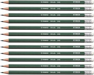 Bleistift – STABILO Othello – 12er Pack – Härtegrad HB – mit Radierer