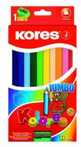 Kores Buntstift Kolores Jumbo, 3-kant mit Spitzer, 12 farben