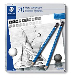 Staedtler Mars 100 G20 Zeichenbleistift Lumograph, Sechskantform, unglaublich bruchfeste Premium-Bleistifte, hohe Qualität, 20 Härtegrade, Metalletui