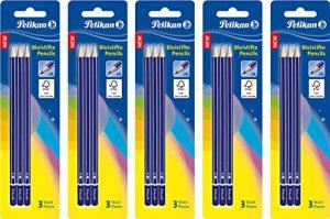 5 Packungen Pelikan Bleistifte, Härtegrad 2B mit Radierer, Blister und 3 Stück
