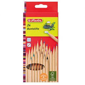 Herlitz 24-er buntstifte natur aus FSC Holz, 24 Stück in Hängeschachtel, 24-farbig