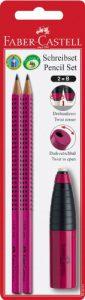 Faber-Castell 184491-2 Bleistifte Grip 2001, Härtegrad B und 1 Kombi Radierer/Spitzer, brombeer