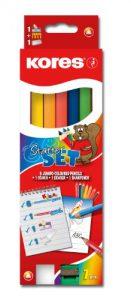 Kores Buntstift Kolores Jumbo Starter Set, 3-kant, 6 farben mit 1 Bleistift, 7 farben
